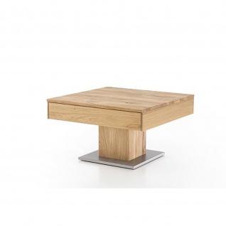 Woodlive Massivholz Couchtisch Alan mit Schubkasten Kernbuche/Wildeiche Maße 75 x 75 cm - Vorschau 4