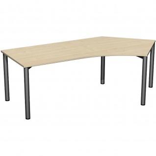 Gera Winkel-Schreibtisch 4 Fuß Flex 135° rechts 2166x1130mm ahorn buche lichtgrau weiß - Vorschau 3