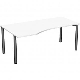 Gera PC-Schreibtisch Bürotisch 4 Fuß Flex Freiform links 1800x800/1000mm ahorn buche lichtgrau weiß - Vorschau 3