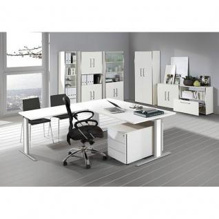 Anbautisch zum Schreibtisch Form 4 100x60 cm C-Fuß Alusilber Applikationen Typ C