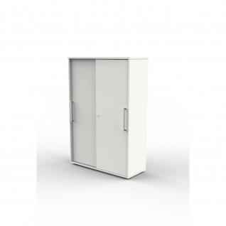 Kerkmann Schiebetürenregal Büroregal 4492 Form 4 weiß, 4 Ordnerhöhen, abschließbar 100 x 40 x 147 cm