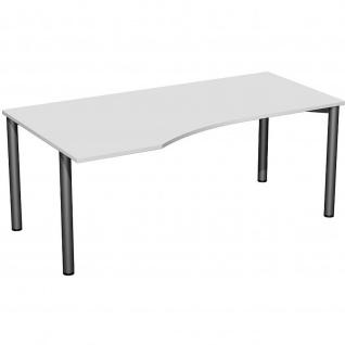 Gera PC-Schreibtisch Bürotisch 4 Fuß Flex Freiform links 1800x800/1000mm ahorn buche lichtgrau weiß - Vorschau 2
