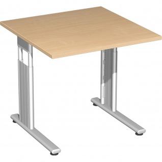 Gera Schreibtisch Bürotisch C Fuß Flex höhenverstellbar 800x800x680-820mm ahorn buche lichtgrau weiß - Vorschau 4