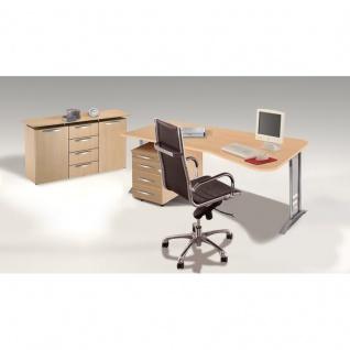 Büro Schreibtisch tec-art office 195x100/80x 68-82 cm Tiefe rechts C-Fuß-Gestell