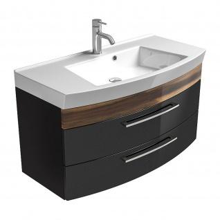 Badmöbel Badezimmer Gästebad Waschplatz Rima, 100 cm breit, MDF-Hochglanz Fronten - Vorschau 5