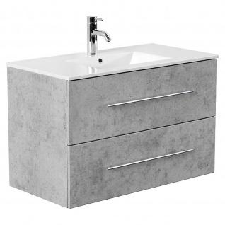 Badmöbel Waschplatz Waschbecken HOMELINE 90cm mit Unterschrank beton