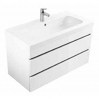 Badmöbel Badezimmer Waschbecken Waschplatz Kali 90 weiß hochglanz