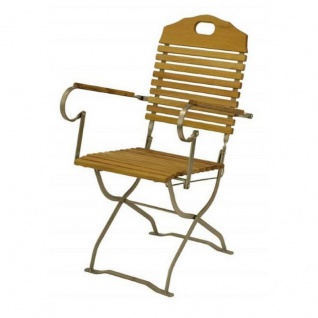 Klappstuhl Holzstuhl Gartenstuhl Stuhl mit Armlehnen Robinenholz, verzinkt