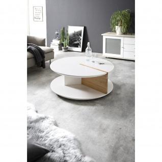 Massivholz Couchtisch Eiche/weiß mit Rollen D:90cm