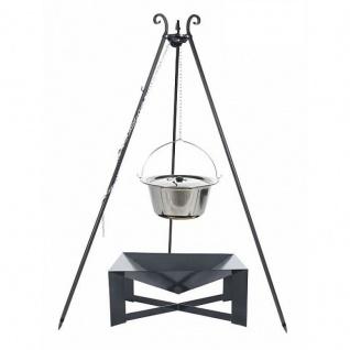 Outdoor Grill mit Feuerschale Pan 34, Dreibein, Kessel Edelstahl verschiedene Größen