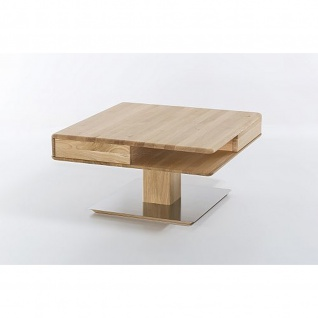 Woodlive Massivholz Couchtisch Quadro mit Edelstahlplatte Maße 85 cm x 85 cm - Vorschau 3