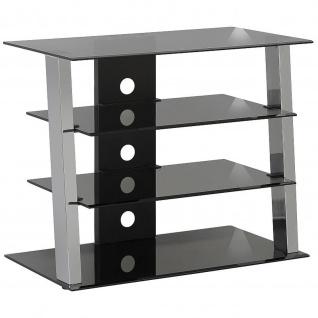Maja TV- und HiFi-Rack Metall Chrom Rauchglas 80x65x45 cm