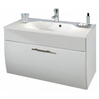 Waschtisch Waschplatz m. Mineralgussbecken und Klappe, 90 cm breit Badezimmer Gästebad Salona, MDF Fronten Hochglaz
