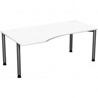 Gera PC-Schreibtisch Bürotisch 4 Fuß Flex Freiform links höhenverstellbar 1800x800/1000x680-800 mm ahorn buche lichtgrau weiß - Vorschau 2