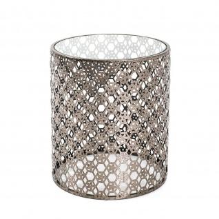 Beistelltisch Couchtisch antik-bronze Metall/Klarglas