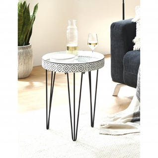 Beistelltisch Couchtisch WESER 1 schwarz-weiß Metall/Spiegelglas H:53cm