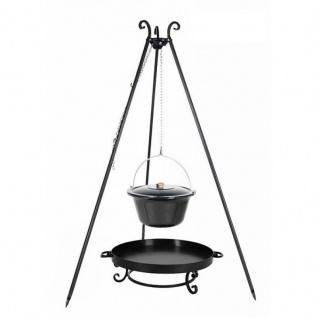 Outdoor Grill mit Feuerschale Pan 32, Dreibein, Emaillierter Kessel verschiedene Größen