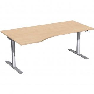 Elektro Flex Schreibtisch Freiform rechts oder links elektrisch höhenverstellbar 1800 x 800/1000 mm diverse Dekore - Vorschau 3