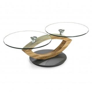 Massivholz Couchtisch Asteiche/Klarglas schwenkbare Tischplatten
