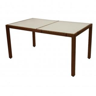 Gartentisch Tisch Polyrattan braun Tischplatte Glas