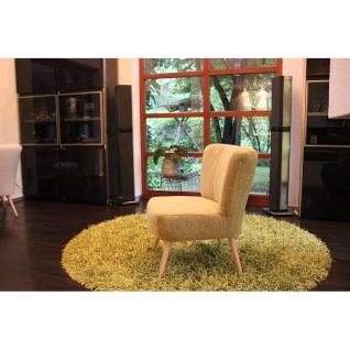 Toms Trendmoebel Sessel Relaxsessel Retrosessel Eva II Massiv Stoff Kate 133 gelb
