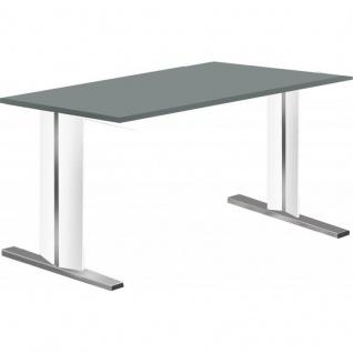 Kerkmann Schreibtisch 4101 Form 4 160x80 cm C-Fuß Alusilber Applikationen Typ C
