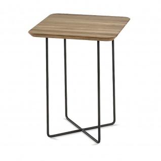 Massivholz Couchtisch Beistelltisch System Soft Quadrat Asteiche/Metall 45x45x58cm
