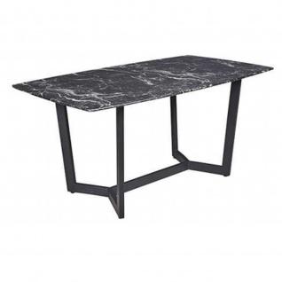 Esstisch Colonia, Gestell schwarz, 10mm Glas in Marmor- optik, 160x90x76(H)cm
