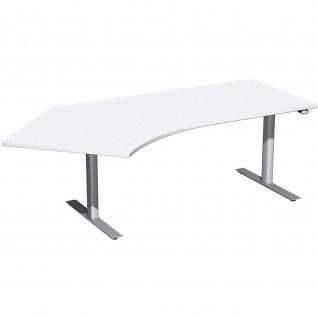 Elektro Flex Winkel-Schreibtisch 135° rechts oder links elektrisch höhenverstellbar 2166 x1130 mm diverse Dekore - Vorschau 5