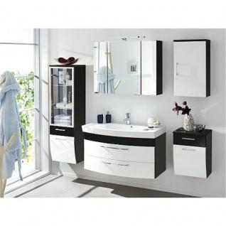 Badmöbel Badezimmer Rima 1, komplett, 5-teilig, anthrazit - weiß Hochglanz MDF-Fronten