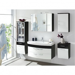Badmöbel Badezimmer Rima 5-teilig, komplett, anthrazit - weiß Hochglanz MDF-Fronten