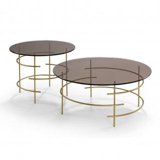 Moderner Couchtisch Metall gold/Bronzeglas Tischplatte rund D:80cm