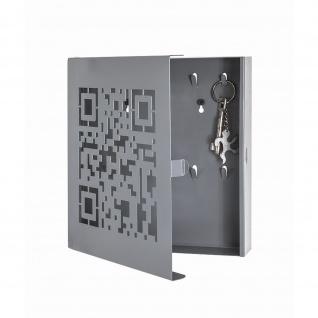Schlüsselkasten QR-Code 10 Haken Metall grau