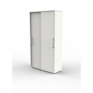 Schiebetürenregal Büroregal 4493 Form 4 weiß, 5 Ordnerhöhen, abschließbar 100 x 40 x 183 cm