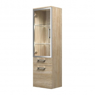 Badmöbel Badezimmer Gästebad Hochschrank Rima, mit Glastür, gerader Unterbau - Vorschau 5