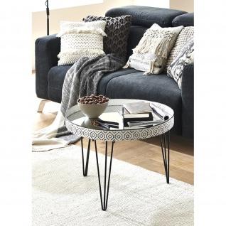 Couchtisch Weser 3 schwarz-weiß Metall/Spiegelglas D:65cm H:46 cm