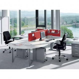 Anbautisch Halbkreis Konferenztisch Schreibtisch E10 Toro Rundrohrgestell H:740 mm Alu, weiß, dkl.grau schwarz - Vorschau 2