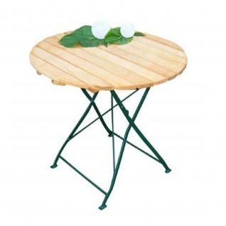 Klapptisch Holztisch Gartentisch Tisch, rund, Gestell dunkel Grün 77 cm