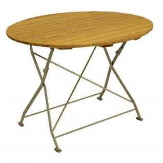 Klapptisch Holztisch Gartentisch Tisch, rund, Gestell verzinkt 100cm