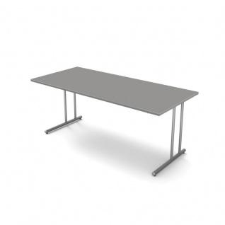 Kerkmann Schreibtisch START UP 180x80x75 cm C-Fuß-Gestell alusilber inkl. Kabelkanal verschiedene Dekore