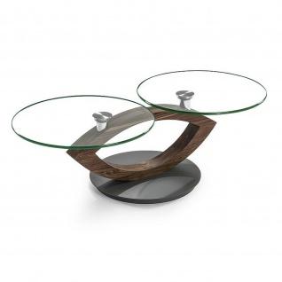 Massivholz Couchtisch Nussbaum/Klarglas schwenkbare Tischplatten