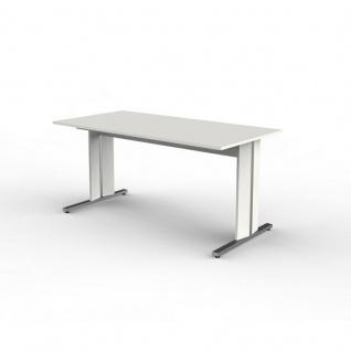 Kerkmann Schreibtisch Form 4 180x80 cm C-Fuß Alusilber Applikationen Typ C