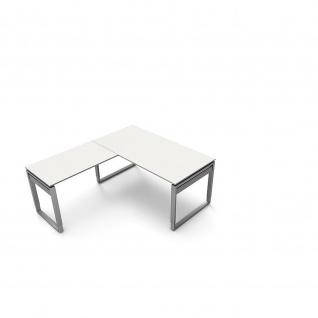 Kerkmann Schreibtisch 4038 Form 5 160x80x68-82 cm Bügel-Gestell höhenverstellbar mit Anbautisch - Vorschau 2