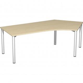 Gera Winkel-Schreibtisch 4 Fuß Flex 135° rechts 2166x1130mm ahorn buche lichtgrau weiß - Vorschau 2