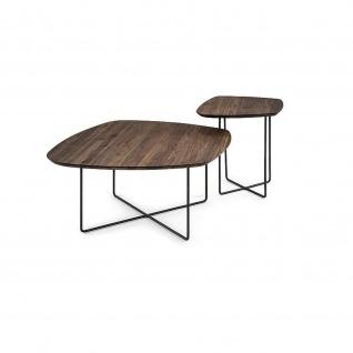 Massivholz Couchtisch Beistelltisch System Soft Freiform Nussbaum/Metall 50x50x53cm