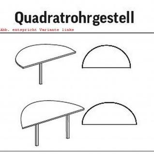 Anbautisch Halbkreis Konferenztisch Schreibtisch E10 Toro Quadratrohrgestell H:740 mm verchromt - Vorschau 3