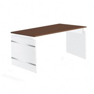 Schreibtisch Form 4 180x80 cm Wangen Gestell höhenverstellbar Alusilber Applikationen