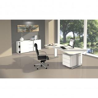 Schreibtisch Freiformtisch Form 4 195x80/100 cm C-Fuß Alusilber Applikationen Typ C - Vorschau 4