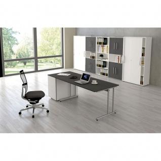 Kerkmann Schreibtisch START UP 160x80x75 cm C-Fuß-Gestell alusilber inkl. Kabelkanal verschiedene Dekore