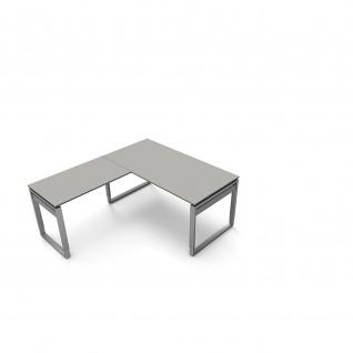 Kerkmann Schreibtisch 4038 Form 5 160x80x68-82 cm Bügel-Gestell höhenverstellbar mit Anbautisch - Vorschau 4